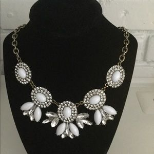 J. Crew chunky statement necklace white bling